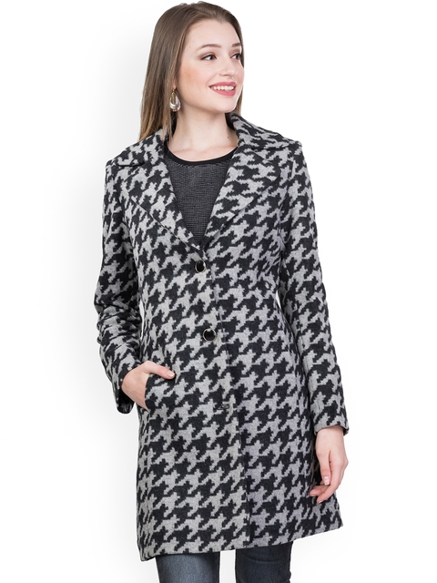 Trufit Women Black & Grey Houndstooth Textured Tweed Long Coat with Notched Lapel