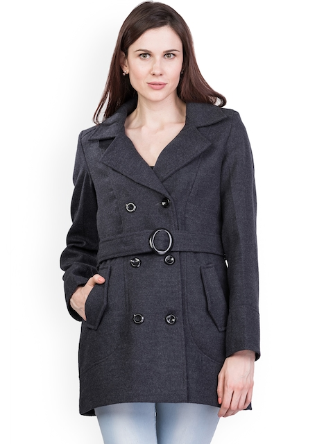Trufit Women Solid Charcoal Grey Double Breasted Tweed Coat with Notched Lapel