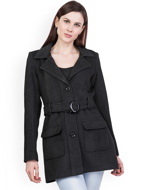 Trufit Women Black Solid Tweed Long Coat with Notched Lapel