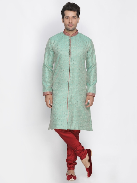 VASTRAMAY Men Green & Maroon Self-Design Sherwani With Churidar