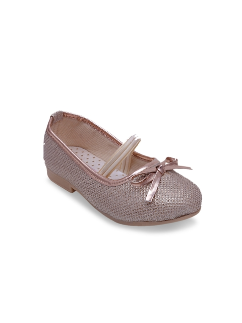 DChica Girls Silver-Toned Solid Synthetic Ballerinas