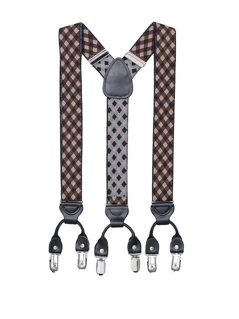 Alvaro Castagnino Men Brown & Black Checked Suspenders