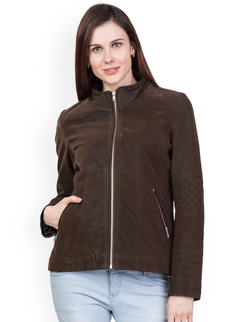 Trufit Women Coffee Brown Solid Biker Jacket
