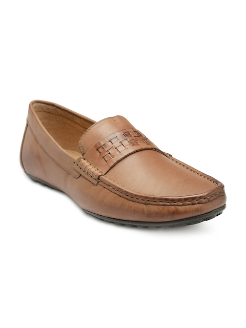 Franco Leone Men Tan Brown Leather Formal Slip-On Shoes