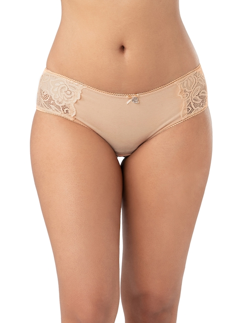 PrettySecrets Women Nude-Coloured Self Design Hipster Briefs PBA003B