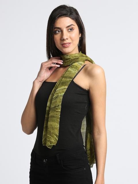 Trend Arrest Women Green Printed Scarf
