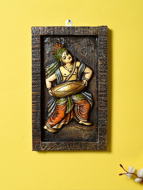 Unravel India Brown Handpainted Wall Decor