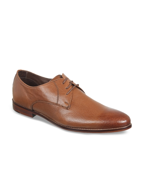 Franco Leone Men Tan Brown Leather Formal Derbys
