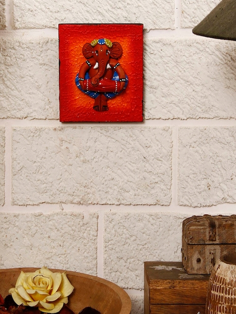 Unravel India Red Handpainted Ganesha Wall Decor