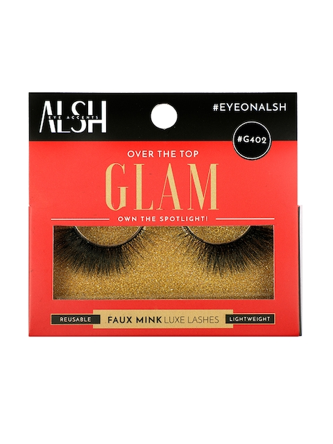 ALSH Women Black Glam Length & Volume Premium 3D Faux Mink Lashes G402
