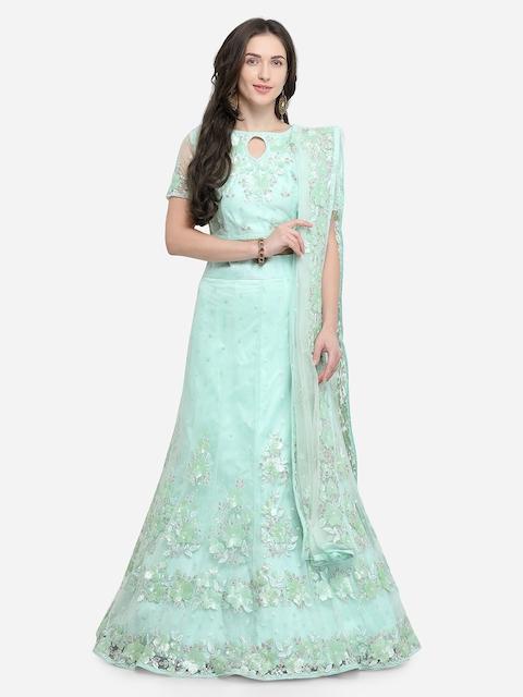 Aasvaa Turquoise Blue Semi-Stitched Lehenga & Blouse with Dupatta