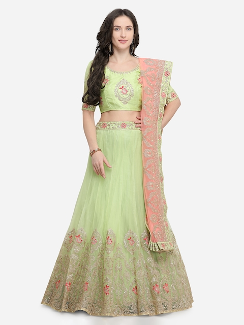 Aasvaa Green & Green Embroidered Ready to Wear Lehenga & Unstitched Blouse with Dupatta