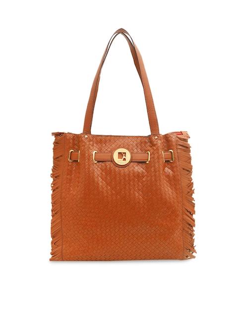 Da Milano Brown Textured Leather Shoulder Bag