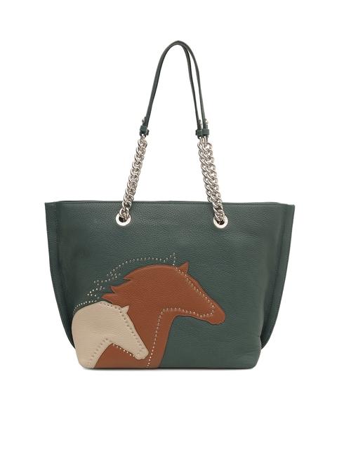 Da Milano Green & Brown Embellished Shoulder Bag