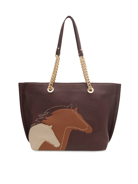 Da Milano Brown & Purple Embellished Shoulder Bag