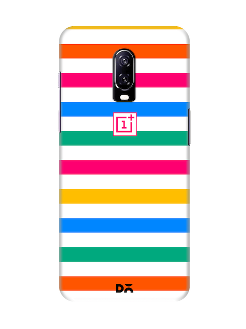 DailyObjects Unisex Multicoloured Striped OnePlus 6T Back Cover