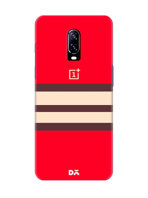 DailyObjects Unisex Red Colourblocked OnePlus 6T Back Cover