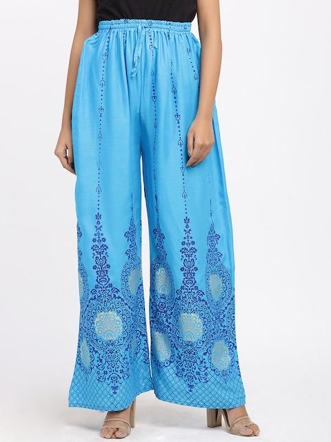 SOUNDARYA Women Turquoise Blue Printed Flared Palazzos