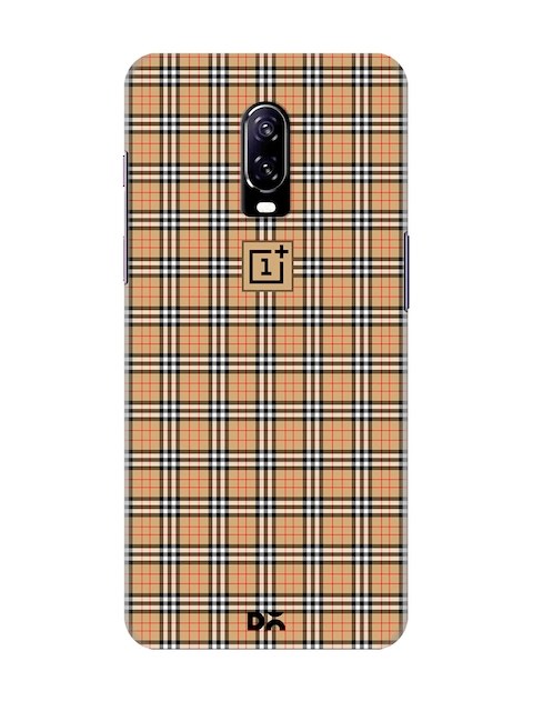 DailyObjects Unisex Beige Checked OnePlus 6T Back Cover
