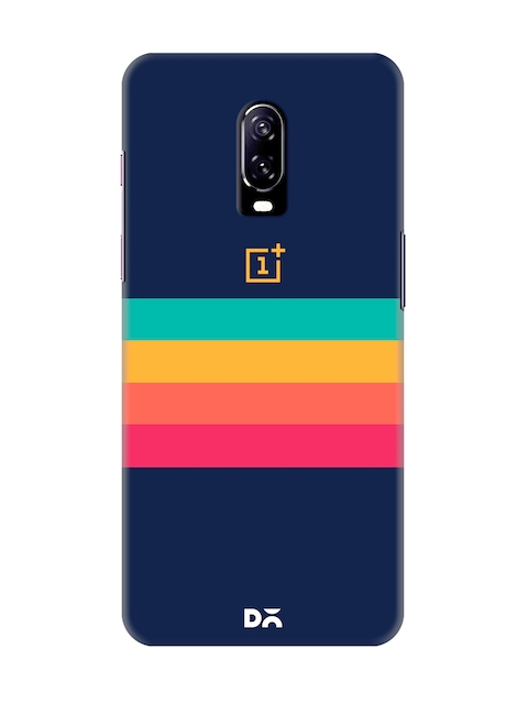 DailyObjects Unisex Blue Striped OnePlus 6T Back Cover