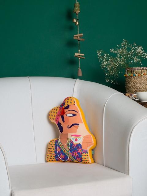 Chumbak Nude-Coloured & Multicoloured Royal Raja Shape Cushion