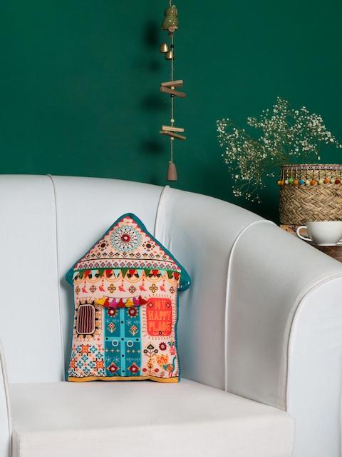 Chumbak Blue & Multicoloured My Happy Place Shape Cushion