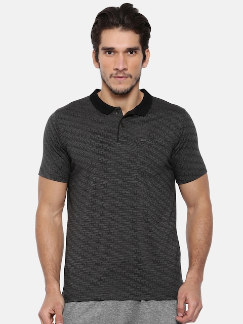 Proline Men Black Self-Design Polo Collar T-shirt