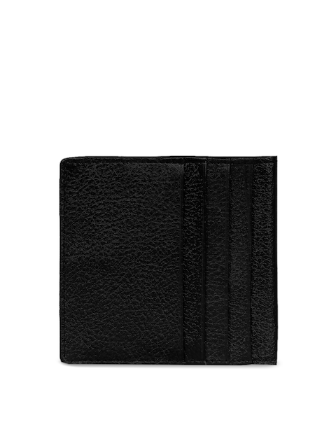 SCHARF Men Black Textured Leather Card Holder
