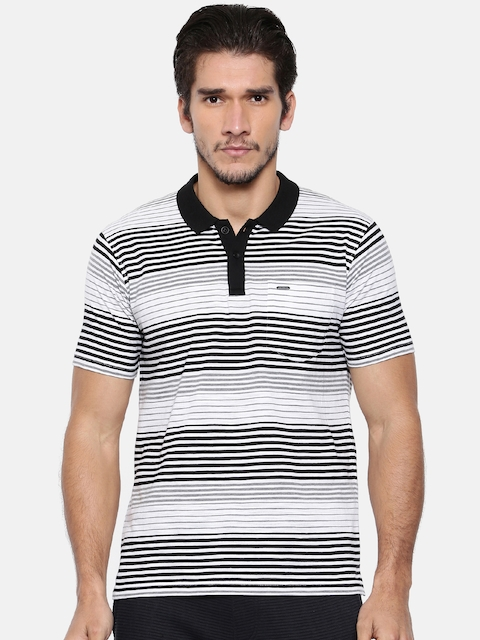 Proline Men Black & White Striped Polo Collar T-shirt