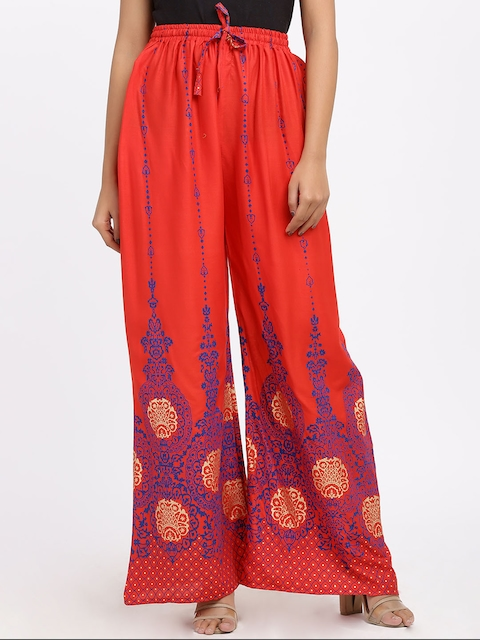 SOUNDARYA Women Red Flared Printed Palazzos