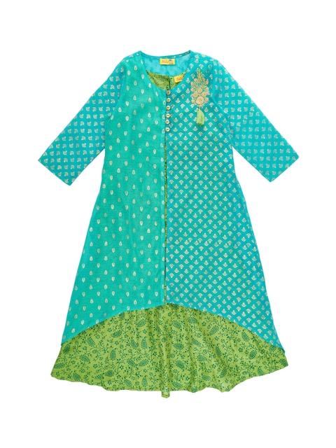 AKKRITI BY PANTALOONS Girls Turquoise Blue & Green Printed A-Line Kurta