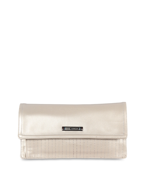 ESBEDA Women Cream-Coloured Solid Two Fold Wallet