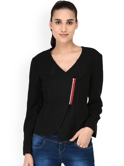 Owncraft Women Black Solid Tailored Jacket