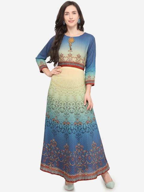 Stylee LIFESTYLE Women Blue & Beige Printed Anarkali Kurta Dress
