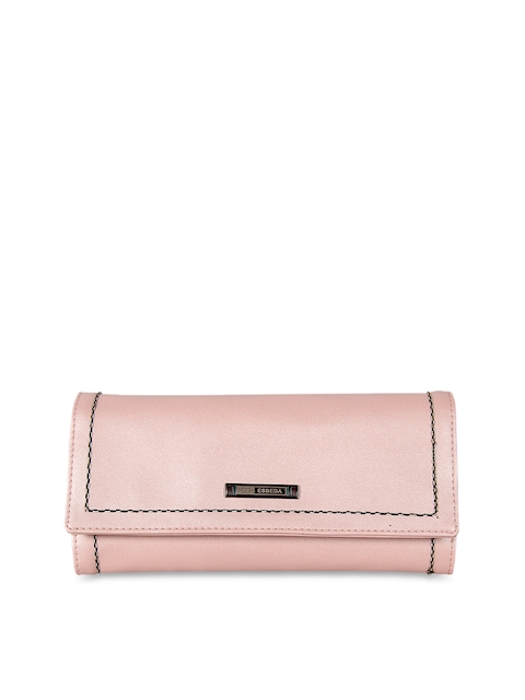 ESBEDA Women Pink Solid Three Fold Wallet