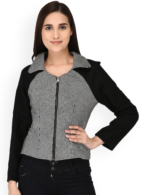 Owncraft Women Black Checked Tailored Jacket