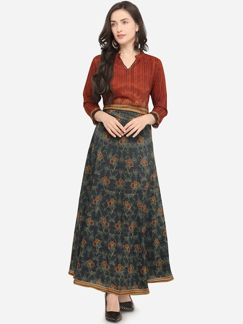 658cc02291 70%off Stylee LIFESTYLE Women Blue & Maroon Printed Anarkali Kurta Dress