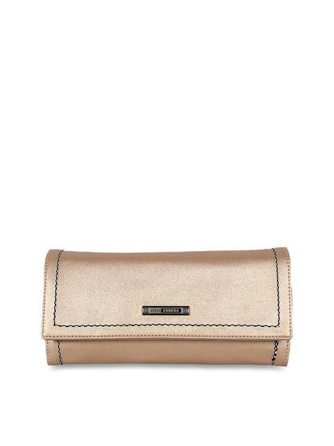 ESBEDA Women Gold-Toned Solid Three Fold Wallet
