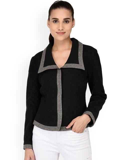 Owncraft Women Black Solid Woollen Tailored Jacket