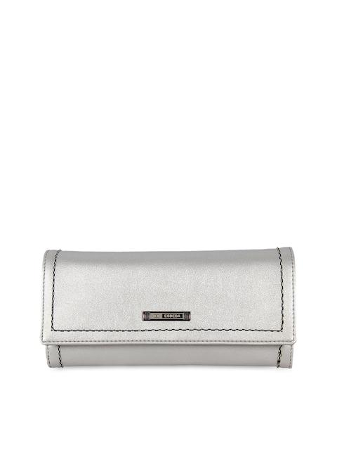 ESBEDA Women Silver-Toned Solid Three Fold Wallet