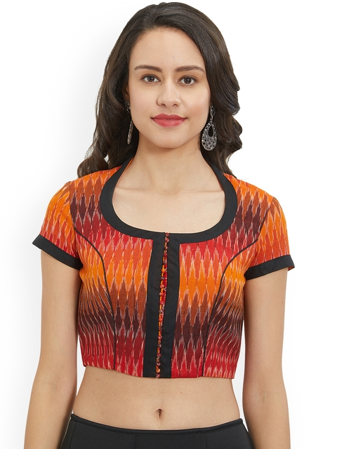 Just B Women Orange & Black Printed Blouse