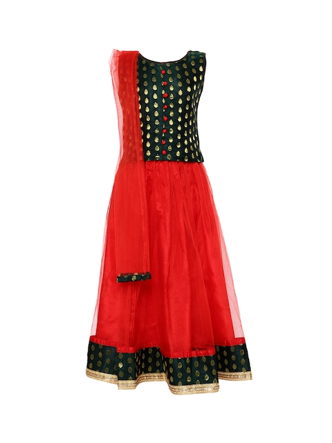 BownBee Girls Red & Black Woven Design Ready to Wear Lehenga & Blouse with Dupatta
