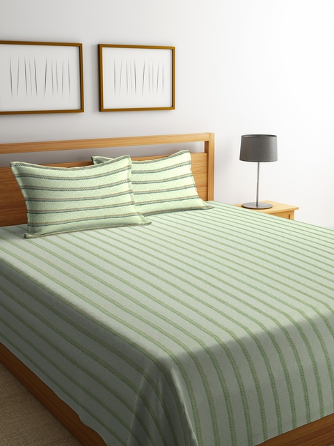 NEUDIS Green Striped Jacquared Cotton Double Bed Cover with 2 Pillow Covers