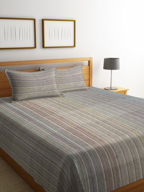 NEUDIS Grey Striped Jacquared Cotton Double Bed Cover with 2 Pillow Covers