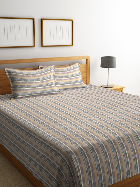 NEUDIS Multicoloured Striped Jacquared Cotton Double Bed Cover with 2 Pillow Covers