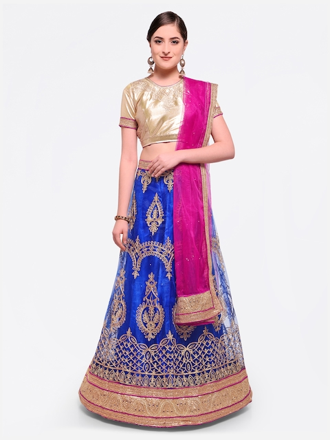 MANVAA Blue Semi-Stitched Lehenga & Blouse with Dupatta