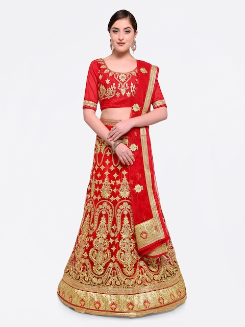 MANVAA Red & Gold-Toned Embellished Semi-Stitched Lehenga & Blouse with Dupatta