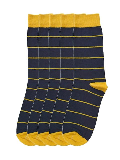 Tossido Men Pack of 5 Blue & Yellow Striped Calf-Length Socks