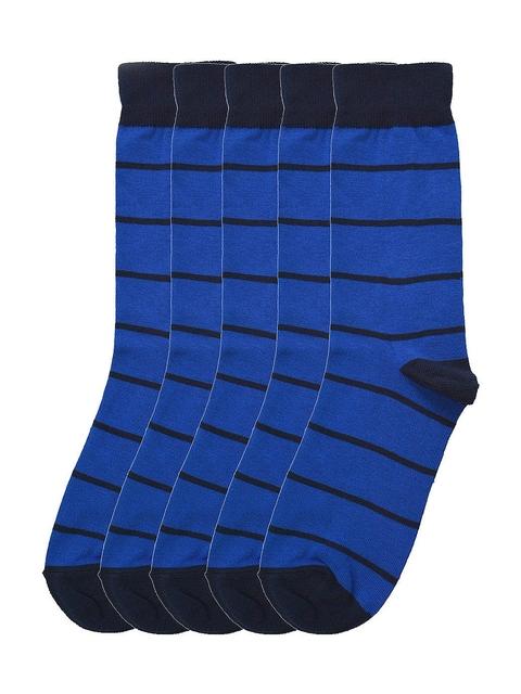 Tossido Men Pack of 5 Blue Striped Calf-Length Socks
