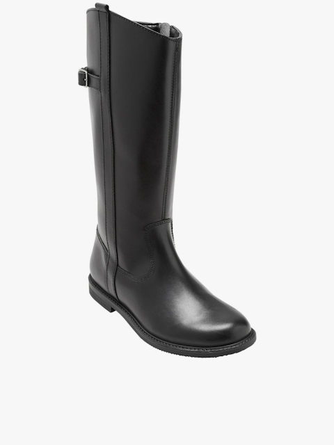 Black Leather High-Top Flat Boots